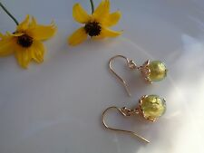 Süße Muranoglas Ohrringe, 585 Gold Filled, peridot-grün, in pfiffigem Design