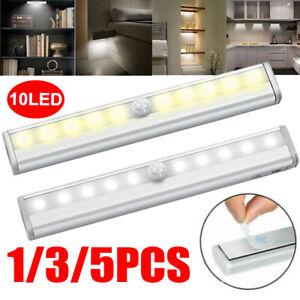 1-5PCS Motion Sensor Activated 10 LED Wireless Light Bar Wardrobe Cabinet Toilet