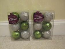 12 shatterproof ornaments plastic green silver glitter balls new in package