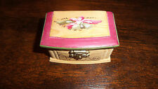 Vintage Wood Toleware Mini Hinged Hand Painted Box With Latch