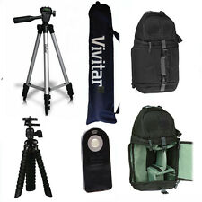 "50"" VIVITAR TRIPOD + 7"" TRIPOD + BACKPACK + REMOTE FOR CANON EOS REBEL T3 T3I T5"