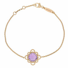 NEW Georland 4.10ct Amethyst Bracelet - 18k Rose Gold Adjustable Cable Chain