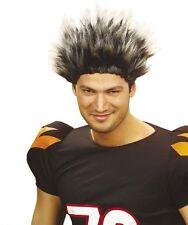 Short Spikey Grey Mens Wig Sports Football Rugby Punk Rocker Fancy Dress