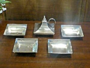RARE hallmarked 1924 SET SOLID SILVER cigar TABLE LIGHTER & 4 matching ASHTRAYS