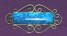 VINTAGE RETRO 1960s STERLING SILVER FOIL TURQUOISE GLASS BROOCH PIN