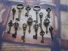 14 antique bronze skeleton keys wedding steampunk vintage pendant charm fancy