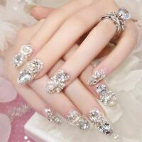 24Pcs Luxe Shining Rhinestone Wedding False Nails Transparent Glitter Gems Crown
