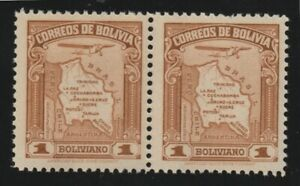 Bolivia 1935 #C47 Map of Bolivia (Se-tenant Pair) - MNH