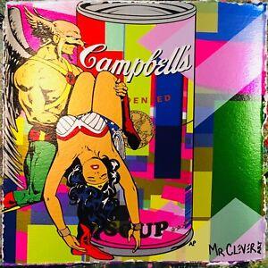 MR CLEVER ART ABANDON HELP super woman urban pop art contemporary street art