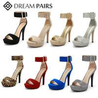 DREAM PAIRS Women's High Stilettos Heel Sandals Ankle Strap Party Wedding Shoes