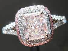 Certified 4.10Ct Light Pink Cushion Cut Diamond Engagement 14K White Gold Ring