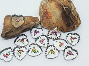 Vintage Dolphin Crystal Iridescent Intaglio Glass Heart Pendant Charms Beads