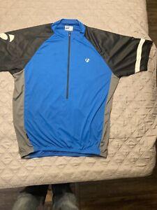 Bontrager Men's Bike Cycle Short Blue/Gray/Black Sleeve Jersey Shirt Small Large