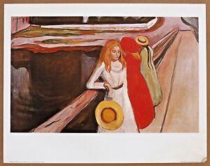 Edvard Munch Girl On a Bridge Vintage  Original 1960 1st Print Ltd Ed Lithograph