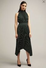 Witchery Printed Pleat Dress Forest Green Size 10 NWT