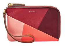 Fossil Jayda Wristlet Metallic Gray Gunmetal & Colorblocked Red Zip Closure NEW