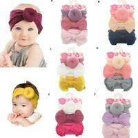 3Pcs Toddler Baby Girls Kids Bow Knot Hair Band Headband Elastic Turban Headwrap