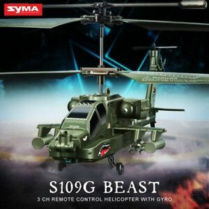 SYMA S109G RC Helicopter AH-64 Apache 3CH RC Drone Simulation Helicopter