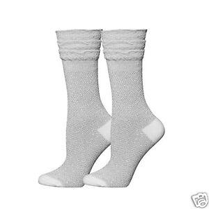 K.Bell Silver Lurex Ruffle Top Crew Women's Acrylic Blend Socks New