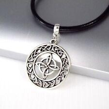 Vintage Silver Alloy Celtic Round Knot Pendant 3mm Black Leather Choker Necklace