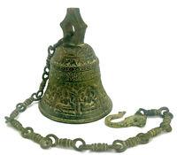 Schwere massive Glocke an Kette … Bronze Messing … Indien … 2,7 Kilo … 85cm lang
