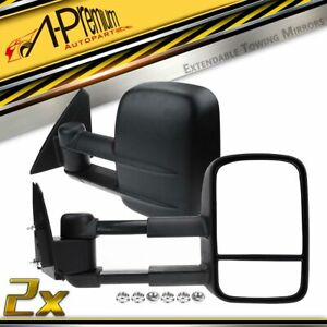 Manual Black Extendable Towing Mirrors for Mitsubishi Triton ML MN 2005-2015 Ute