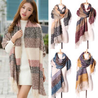 Women Winter Mohair Scarf Long Size Warm Fashion Patchwork Color Scarves Wrap #B