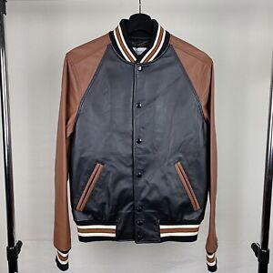 Brand New Coach Leather Varsity Jacket Size 46 Black/Tan MSRP $1,100