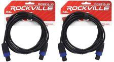 2 Rockville RCSS1610 10' 16 AWG 100% Copper Speakon to Speakon Pro Speaker Cable