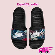New Women's Nike Benassi JDI Slides Sandals Flip-Flops Black/White Sizes 5-10