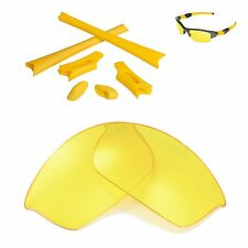 Walleva Yellow Replacement Lenses And Rubber Kit For Oakley Flak Jacket