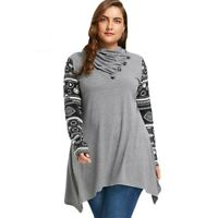 Women Loose Blouses Turtleneck Geometric Long Length Plus Size Clothings Vintage
