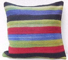 24'' X 24'' Vintage Handmade Multi Color Striped Turkish Kilim Pillow Cover 60cm