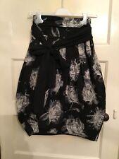 Full Circle Skirt Black And White, Flower Print, Size 8/XS