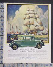 1928 REO FLYING CLOUD W J AYLWARD ARTIST SAILBOAT SANDY HOOK VINTAGE AD DN67
