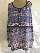 Dressbarn 1X PLUS  BLUE FLORAL  TANK STRETCH