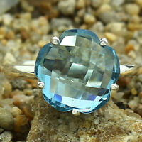 Aquamarine Flower Shape 925 Sterling Silver Ring Jewelry DRR1081_I