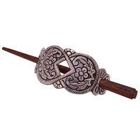 Black Buffalo Nickel Leather Hair Barrette Wooden Slide Stick Pin