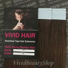 10pcs 18inches Remy Seamless Tape Skin Weft Human Hair Extension Medium Brown #4