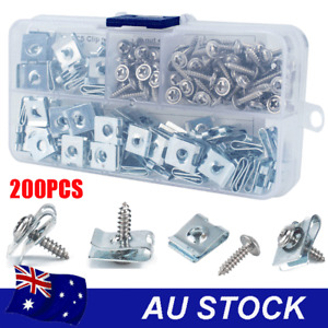 200pcs U-Type Clips Speed Fasteners Car Motorcyle Panel Self Tapping Screw Nuts