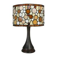 """Tiffany Style Contemporary Drum Table Lamp 16"""" Shade"""
