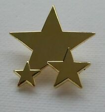 Metal Enamel Pin Badge Brooch Star Triple 3 Three Star Gold Polished Finish