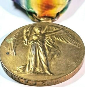 WW1 BRITISH VICTORY MEDAL No:3403 / SPR + NAMED F.J.COOPER R.E (Royal Engineers)