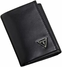 NEW GUESS CRUZ BLACK LEATHER TRIFOLD ID CREDIT CARD CASE MEN'S WALLET