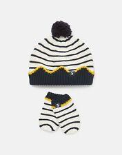 Joules Baby Boys Crown Hat And Mitten Set - Cream Navy Stripe