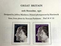Mint NH GREAT BRITAIN Queen Elizabeth 1972 Silver Wedding Anniversary Stamps