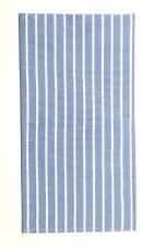 POCKET SQUARE Blue & White Stripe Flat Top - Folded & Sewn-Just Slips In Pocket