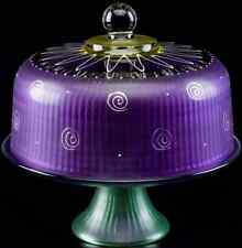 Purple Glass Cake Pie Plate & Round Dome Cover Stand Lid Display Convertible Set