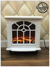 New Traditional 1.8Kw White Log Burner Flame Effect Electric Stove Fire Heater