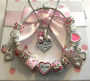 Ladies Special Mum silver pink heart charm necklace bracelet set in gift box